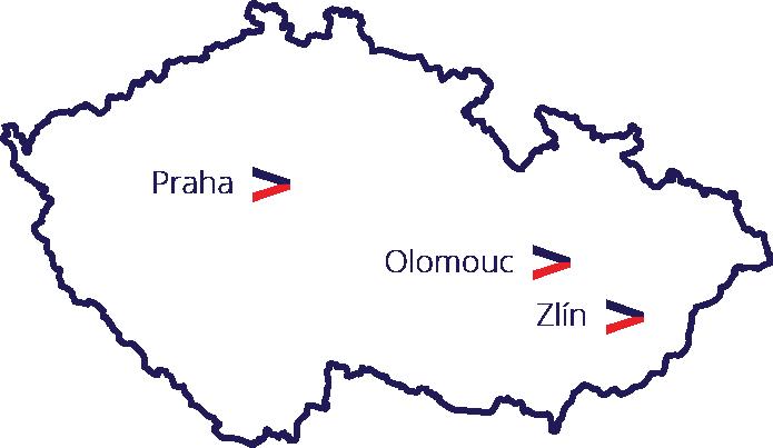 Mapa sídla a poboček – Praha, Olomouc, Zlín